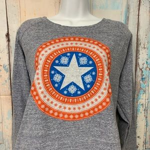 Captain America Marvel Long Sleeve Gray sz L shirt